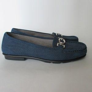 Aerosoles Stitch N Turn Loafers Blue Horse Bit 7